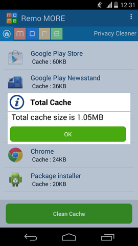 Clear Application Cache - Cache Size Detail
