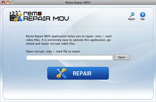 Repair MP4 Video Mac OS X - Main Screen