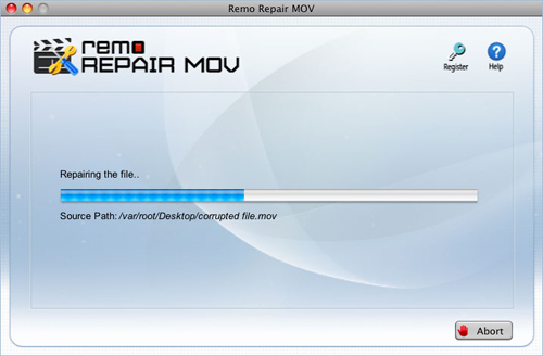 Repair MP4 Video Mac OS X - Repairing starts
