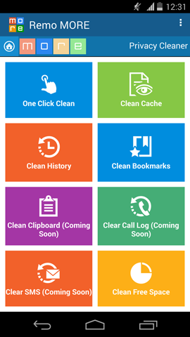 Clear Application Cache - Privacy Cleaner Main Screen